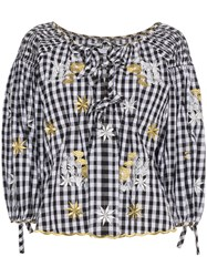 Innika Choo Floral Embroidered Gingham Bell Sleeve Top Black