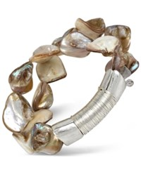 Robert Lee Morris Soho Silver Tone Wire Wrapped Shell Inspired Stretch Bracelet