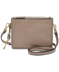 Fossil Campbell Mini Leather Crossbody Light Taupe Gold
