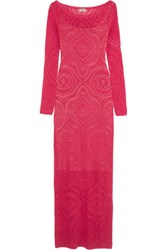 Temperley London Raya Open Knit Maxi Dress Fuchsia