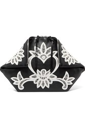 Alexander Mcqueen Butterfly Crocheted Lace Trimmed Leather Pouch Black