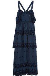 Self Portrait Tiered Broderie Anglaise Trimmed Crepe Gown Navy