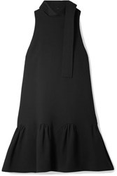 Lela Rose Fluted Wool Blend Crepe Mini Dress Black
