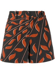 Dorothee Schumacher Graphic Leaves Print Shorts Black