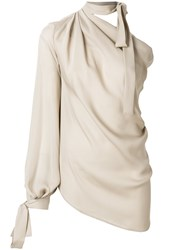 Plein Sud Jeans Draped Tie Neck Blouse Nude And Neutrals