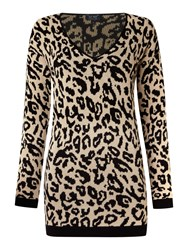 Armani Jeans Long Sleeve V Neck Knit In Animal Print Leopard