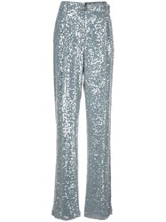 Sally Lapointe Sequin Embroidered Trousers Blue