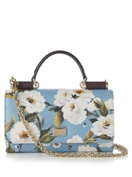 Dolce And Gabbana Sicily Von Peony Print Leather Cross Body Bag Blue Multi