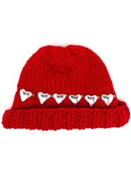 Wool And The Gang Knitted Heart Beanie Hat Red