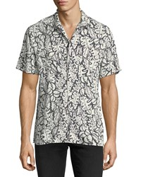 Ovadia And Sons Leaf Print Beach Shirt White