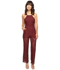 Brigitte Bailey Perrin High Neck Lace Jumpsuit Burgundy Women's Jumpsuit And Rompers One Piece