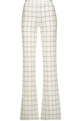 Derek Lam 10 Crosby By Checked Stretch Twill Bootcut Pants Cream