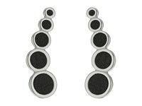 Rebecca Minkoff Leather Inlet Climber Earrings Rhodium Black Earring