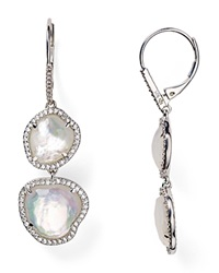 Nadri Sterling Silver And Mother Of Pearl Double Drop Earrings