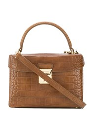 Lancaster Croco Effect Tote Brown