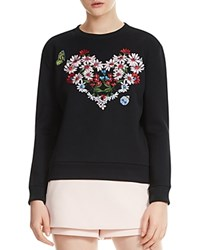 Maje Telbi Embroidered Floral Heart Sweatshirt Black