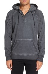 Michael Stars Men's Faded Henley Hoodie Graphite