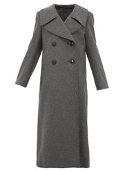 Christophe Lemaire Double Breasted Wool Blend Coat Dark Grey