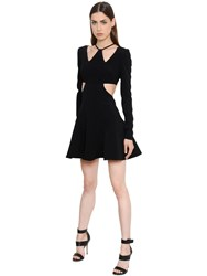 David Koma Flared Cady Mini Dress With Cutouts