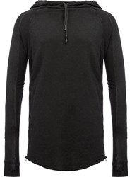 Masnada Slim Fit Raw Edge Hoody Black