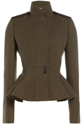 Alexander Mcqueen Military Inspired Wool Peplum Jacket Green