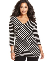 Ny Collection Plus Size Three Quarter Sleeve Striped Tiered Top Noir Stripe