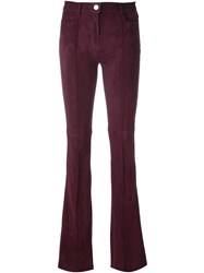 Jitrois Flared Leather Trousers Pink Purple