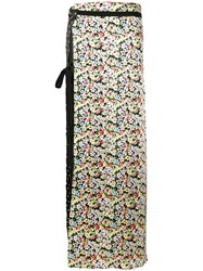 Attico Side Slit Contrast Maxi Skirt Women Silk Polyester I Black