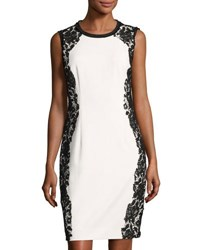 T Tahari Doris Lace Trim Sheath Dress White Black