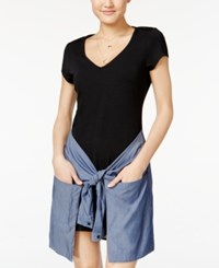 Material Girl Juniors' Chambray Wrap Front T Shirt Dress Only At Macy's Caviar Black