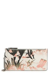 Mackage Rem Double Zip Nappa Leather Pouch Pink Leaf