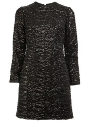 Saint Laurent Sequin Embellished Shift Dress Black