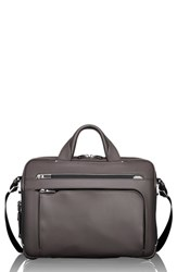 Tumi Arrive Sawyer Leather Briefcase Grey Taupe