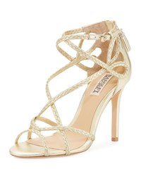 Badgley Mischka Crystal Braided Strappy Sandal Gold