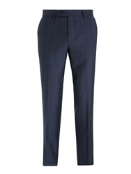 Hackett London Fine Windowpane Check Tailored Suit Trousers Navy