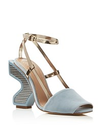 Tory Burch Curio High Heel Ankle Strap Sandals Blue Steel Mika