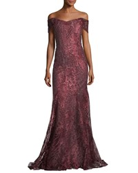 Rene Ruiz Off The Shoulder Embellished Metallic Tulle Evening Gown Dark Red