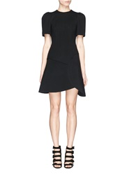 Chictopia Asymmetric Hem Scuba Jersey Boxy Flare Dress Black