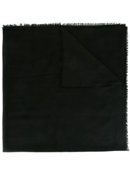 Z Zegna Frayed Edge Scarf Black