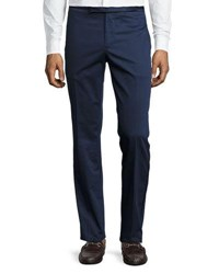Etro Satin Trim Flat Front Trousers Navy