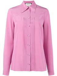 Gucci Pleated Silk Blouse Pink Purple