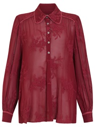 Ghost Embroidered Georgette Blouse Berry