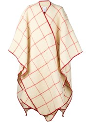 Off White Checked Poncho Nude And Neutrals