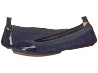 Yosi Samra Samantha Kid Suede Fold Up Flat With Patent Captoe Indigo Women's Flat Shoes Blue