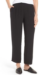 Eileen Fisher Women's Silk Georgette Crepe Straight Ankle Pants Black