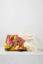 Dries Van Noten Envelope Feather And Crystal Embellished Floral Jacquard Clutch Yellow