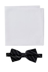 Nicole Miller Silk Striped Bow Tie And Pocket Square Boxed Set Black