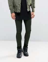 Asos Extreme Super Skinny Jeans With Biker Panels In Khaki Khaki Green