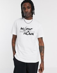 Weekday Billy Magic Hour T Shirt With Chest Print In White
