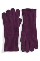 Halogenr Women's Halogen Rib Knit Cashmere Gloves Purple Passion